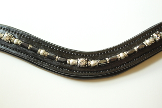 Beaded Browband with Large Round Stone